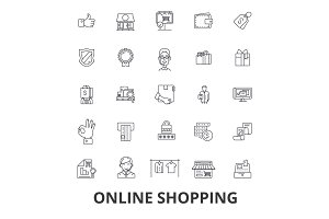 Online shopping, ecommerce, mobile store, cart, bag, buying, marketing, purchase line icons. Editable strokes. Flat design vector illustration symbol concept. Linear signs isolated