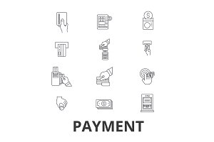 Payment, pay, money, credit card, online bill, salary, shop, invoice line icons. Editable strokes. Flat design vector illustration symbol concept. Linear signs isolated