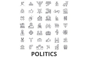 Politics, politician, vote, election, campaign, government, political party line icons. Editable strokes. Flat design vector illustration symbol concept. Linear signs isolated