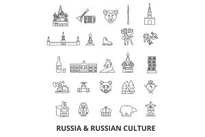 Russia, moscow, map, russian flag, matryoshka, kremlin, ussr, st petersburg, sights line icons. Editable strokes. Flat design vector illustration symbol concept. Linear signs isolated