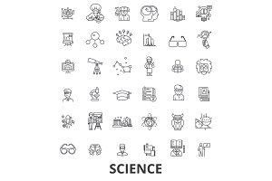 Science, technology, scientist, ab test, molecule, chemistry, dna, math, microscope line icons. Editable strokes. Flat design vector illustration symbol concept. Linear signs isolated