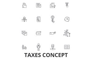 Taxes, accounting, money, forms, taxation, accountant, calculator, finance line icons. Editable strokes. Flat design vector illustration symbol concept. Linear signs isolated