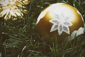 Christmas decoration with golden balls on Christmas tree.