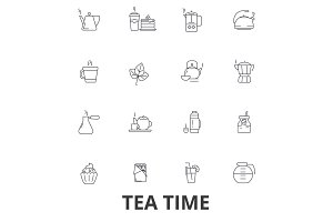 Teatime, tea, teacup, cafe, tea party, afternoon drinks, cupcake, pot line icons. Editable strokes. Flat design vector illustration symbol concept. Linear signs isolated