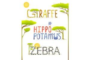 Lettering Hippopotamus Giraffe Zebra