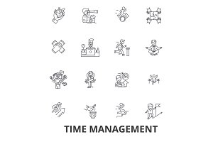 Time management, clock, timeline, planning, project, calendar, leadership line icons. Editable strokes. Flat design vector illustration symbol concept. Linear signs isolated