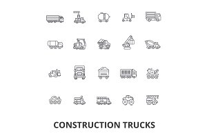 Trucks construction, equipment, crane, cement, vehicles, delivery, van, lorry line icons. Editable strokes. Flat design vector illustration symbol concept. Linear signs isolated