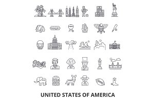 Usa, america, new york, statue of liberty, united states, famous landmarks, sights line icons. Editable strokes. Flat design vector illustration symbol concept. Linear signs isolated