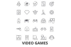Video computer games, controller, play, screen, arcade, console, joystick line icons. Editable strokes. Flat design vector illustration symbol concept. Linear signs isolated