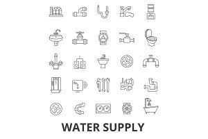 Water supply, pipe, drainage, hvac, pump, irrigation, reservoir line icons. Editable strokes. Flat design vector illustration symbol concept. Linear signs isolated