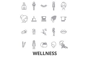 Wellness, health, water well, spa, fitness, massage, beauty, wellbeing, gym line icons. Editable strokes. Flat design vector illustration symbol concept. Linear signs isolated