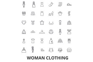Woman clothing, clothes, fashion, girl, dress, shopping, closet, shoes, style line icons. Editable strokes. Flat design vector illustration symbol concept. Linear signs isolated