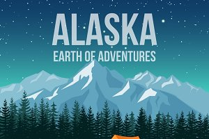 Alaska wildlife travel poster