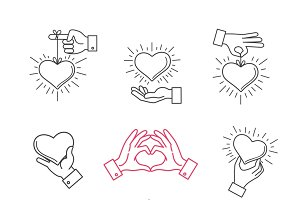 Lined hand love signs