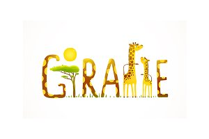 Giraffe Animals Fun Lettering