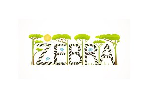 African Zebra Animals Fun Lettering