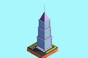Cartoon Low Poly Skyscraper