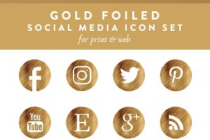 Gold Foiled Social Media icon set