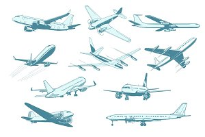set aircraft air transport isolate on white background