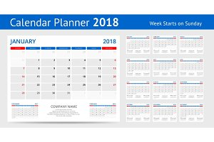 2018 calendar Print Template Week Starts Sunday Portrait Orientation Set of 12 Months Planner for 2018 Year