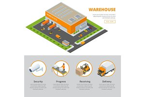 Page web design template Set of flat vector web banners on the theme of Logistics, Warehouse, Freight, Cargo Transportation. Storage of goods. Vector 3d isometric illustration
