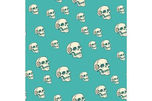 Human skull seamless pattern background