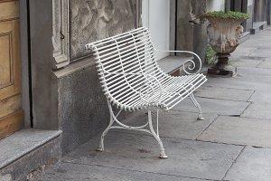 white bench chair