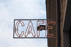 neon cafe sign