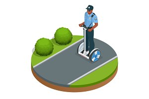 Police officer on fashionable two-wheeled Self-balancing electri