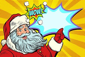 Wow Santa Claus, New year and Christmas