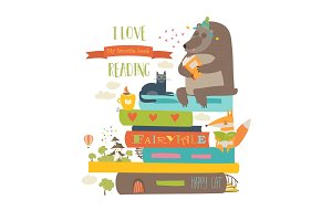 Cute cartoon animals reading books