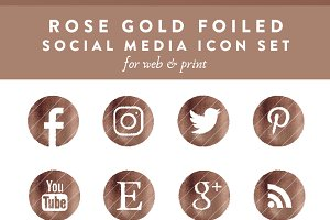 Rose Gold Foiled Social Media Icons