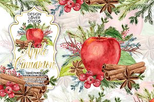 Watercolor Apple Cinnamon design