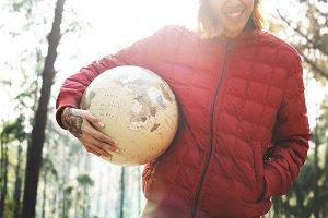 Camping Man Holding Happy Globe
