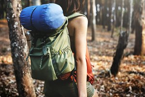 Camping Woman Backpakcer Leisure