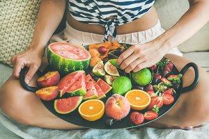 Healthy fruit breakfast in bed