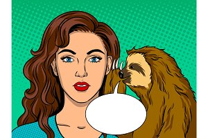 Sloth talking with girl pop art vector