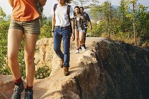 Friends Explore Nature Outdoors