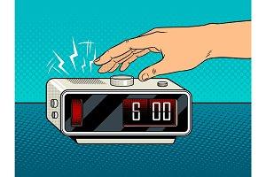 Hand turns off the alarm pop art vector