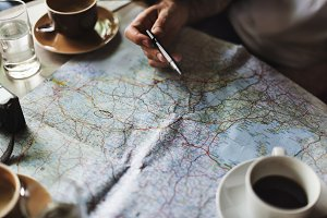 Travel planning at cafe