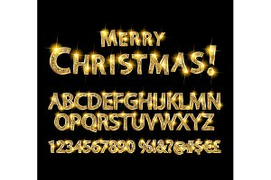 Merry Christmas with Golden alphabet