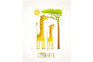 Fun Cartoon African Giraffe Animals