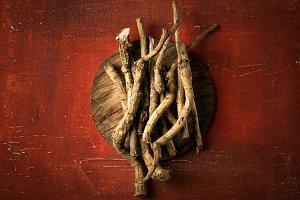 Horseradish root on red