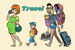 Caucasian family travelers, mom dad and kids