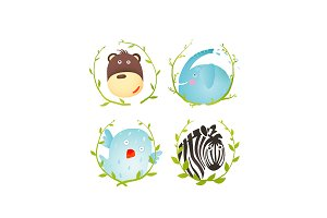 Monkey Zebra Elephant Bird Cartoon