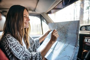 Girl Map Road Trip Travel