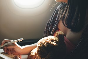 Woman on an airplane