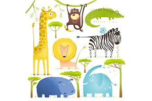 African Animals Fun Cartoon Clip Art