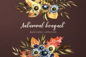 Autumnal bouquet - watercolor set