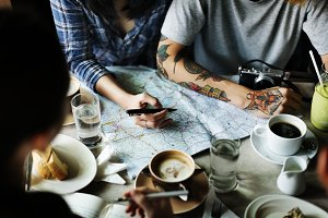 Planning for travel at coffee shop